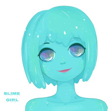 Hot slime girl. Cartoon character Иллюстрация