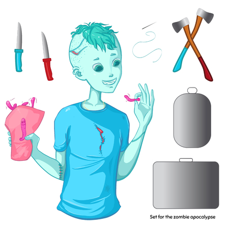 iroquois: Zombie collection. Set for the zombie apocalypse - ax, knife, medical kit, zombie case and over. Zombie boy with iroquois. Green hair. Happy halloween! Illustration