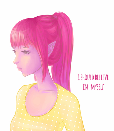 Pretty girl elf with pink hair Illustration