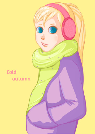 Cold autumn. Fall, leaf fall. Blond girl in pink headphones.