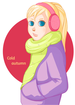 sad little girl: Cold autumn. Fall, leaf fall. Blond girl in pink headphones.