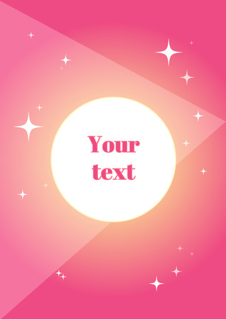 Pink doodle with geometric simbols and bright stars; geometric layout with your text