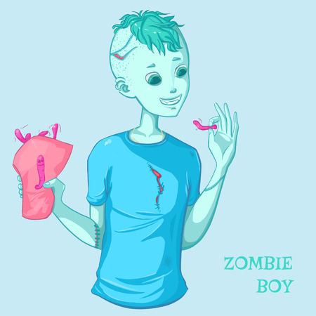 Zombie boy eats worms. Smiling cute boy. Character for halloween design. Doodle. Isolated Illustration
