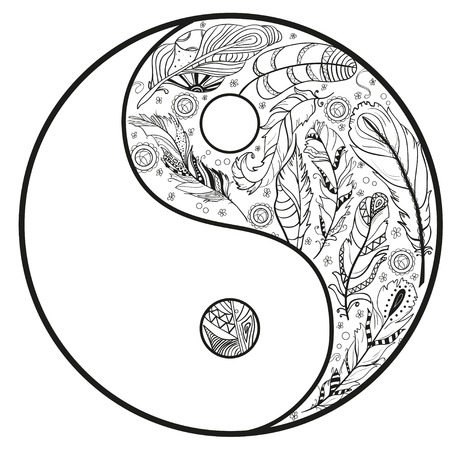 Yin and Yang. Feather pattern. Zentangle. Hand drawn mandala on isolation . Design for spiritual relaxation for adults. Line art creation. Black and white illustration for coloring. Illustration