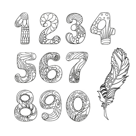 Numbers. Alphabet. Zentangle. Hand drawn numbers with feather on isolation. Design for spiritual relaxation for adults. Line art creation. Black and white illustration for coloring.