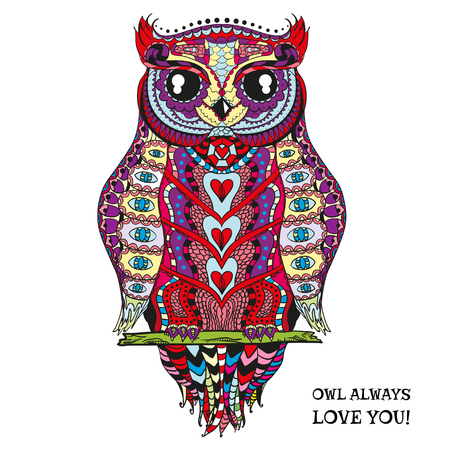 color tribal tattoo: Owl. Design Zentangle. Hand drawn owl with abstract patterns on isolation background. Design for spiritual relaxation for adults. Zen art Illustration
