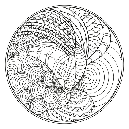 Zendala. Zentangle. Hand drawn circle mandala with abstract patterns on isolation background. Design for spiritual relaxation for adults. Line art creation. Black and white illustration for coloring. Illustration