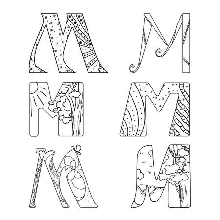 Letter M. Ethnic alphabet. Design. Hand drawn letter with abstract patterns on isolation. Black and white illustration for coloring. Zen art Illusztráció