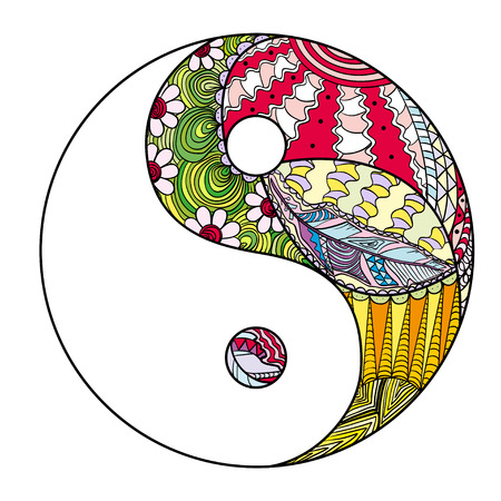 Yin and Yang. Feather pattern. Zentangle. Hand drawn mandala on isolation background. Design for spiritual relaxation for adults. Line art creation. Black and white illustration for coloring.