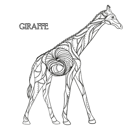isolation: Giraffe. Zen art. Design Zentangle. Detailed hand drawn giraffe with abstract patterns on isolation background. Design for spiritual relaxation for adults. Black and white illustration for coloring.