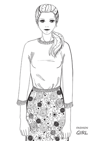Zentangl girl. Coloring book anti stress for adults. Black and white illustration for coloring. Ilustração
