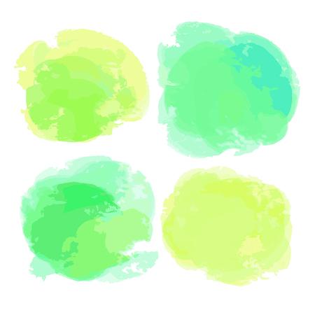 Aquarel vlekken. Abstracte aquarelle vormen op geïsoleerde achtergrond. Ecologische kleuren. Achtergronden voor ontwerp