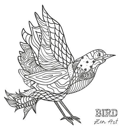 Bird. Zen art. Design Zentangle. Hand drawn bird with abstract patterns on isolation background. Design for spiritual relaxation for adults.  Black and white illustration for coloring. Illustration