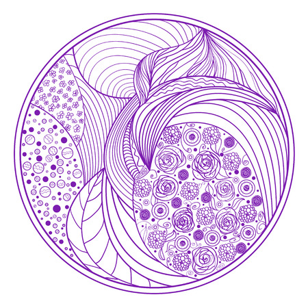 Zendala. Zentangle. Hand drawn circle mandala with abstract patterns on isolation background. Zen art. Design for spiritual relaxation for adults. Line art creation.