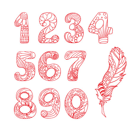 Numbers. Alphabet. Zentangle. Hand drawn numbers with feather on isolation background.