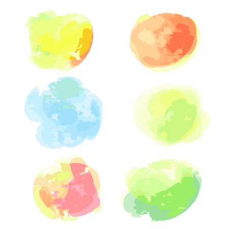 Watercolor spots. Abstract aquarelle shapes on isolated background. Bright colors. Backgrounds for design Illustration