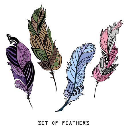 isolation: Feathers. Design Zentangle. Hand drawn feathers with abstract patterns on isolation background. Colored set. Zen art