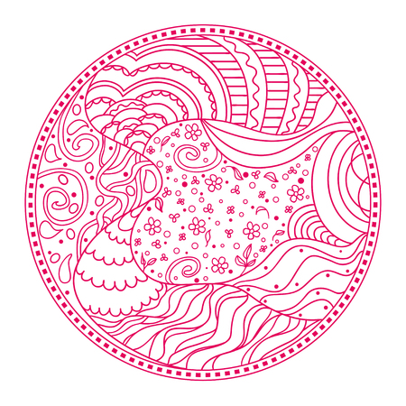 Zendala. Zentangle. Hand drawn circle mandala with abstract patterns on isolation background. Design for spiritual relaxation for adults. Line art creation. Zen art