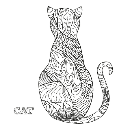 Cat. Design Zentangle. Hand drawn cat with abstract patterns on isolation background. Design for spiritual relaxation for adults.  Black and white illustration for coloring. Zen art