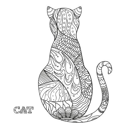 Kat. Ontwerp Zentangle. Hand getekende kat met abstracte patronen op isolatie achtergrond. Ontwerp voor geestelijke ontspanning voor volwassenen. Zwart-witte afbeelding voor het kleuren. Zen kunst Stock Illustratie
