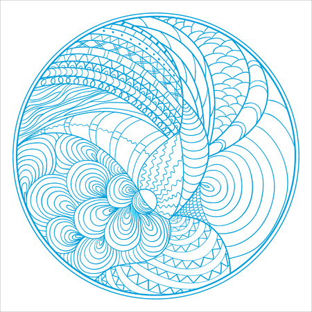 Zendala. Zentangle. Hand drawn circle mandala with abstract patterns on isolation background. Design for spiritual relaxation for adults. Line art creation.