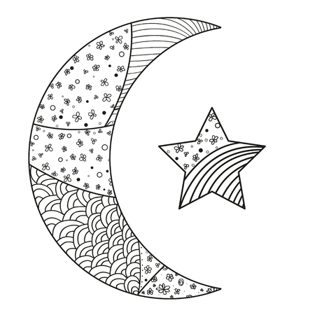 Zentangle moon and star with abstract patterns on isolation background. Design for spiritual relaxation for adults. Line art creation. Black and white illustration for anti stress coloring page.