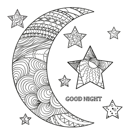 inspiring: Zentangle moon and star with abstract patterns on isolation background. Design for spiritual relaxation for adults. Line art creation. Black and white illustration for anti stress coloring page.