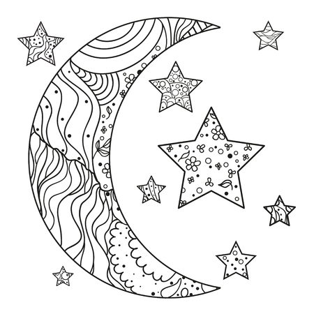 moon and star with abstract patterns on isolation background. Design for spiritual relaxation for adults. Line art creation. Black and white illustration for anti stress coloring page. Иллюстрация