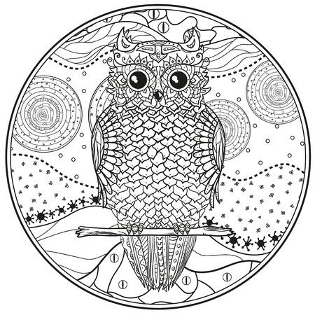 Mandala Con El Búho Diseño Zentangle Dibujado A Mano