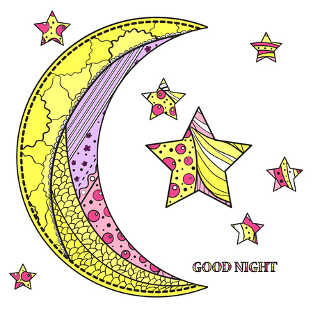 Zentangle moon and star with abstract patterns on isolation background. Design for spiritual relaxation for adults. Line art creation.