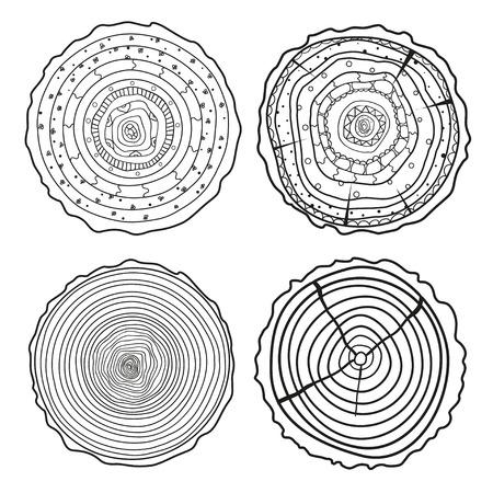 Boom ringen. Set van dwarsdoorsnede van de boom. Reeks boomringen op isolatieachtergrond. Conceptuele afbeeldingen. Lijn kunst. Zwart-wit afbeelding voor anti-stress kleurplaat. Stockfoto - 80101610