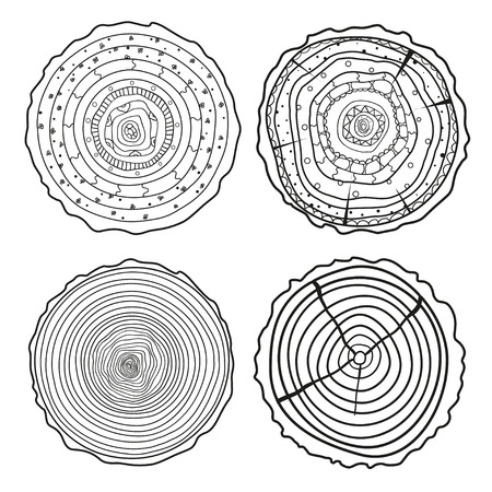 Tree rings. Set of cross section of the tree. Set of tree rings on isolation background. Conceptual graphics. Line art. Black and white illustration for anti stress coloring page. Ilustração