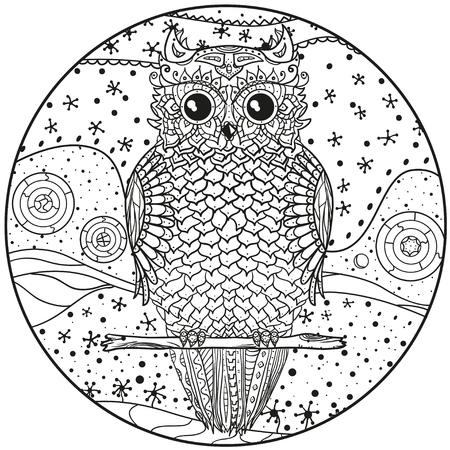 Mandala Con El Búho Diseño Zentangle Dibujado A Mano Patrones