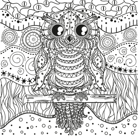 Mandala with owl. Design Zentangle. Hand drawn abstract patterns on isolation background. Design for spiritual relaxation for adults.  Black and white illustration for coloring. Zen art. Decorative