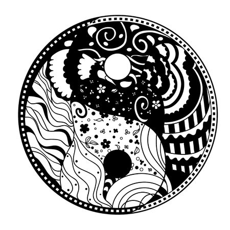 Yin and Yang. Zentangle. Hand drawn mandala on isolation background. Design for spiritual relaxation for adults. Line art creation. Black and white illustration for coloring. Zen art Illustration