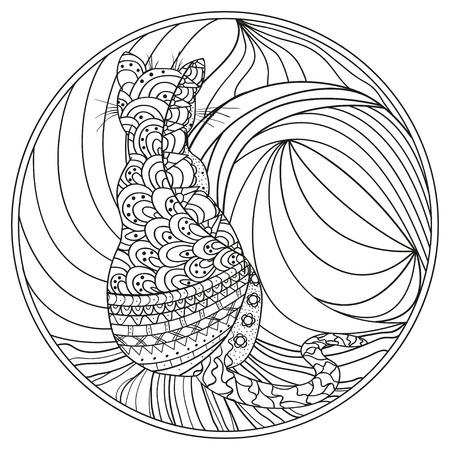 Cat zendala design for spiritual relaxation of adults. Illustration