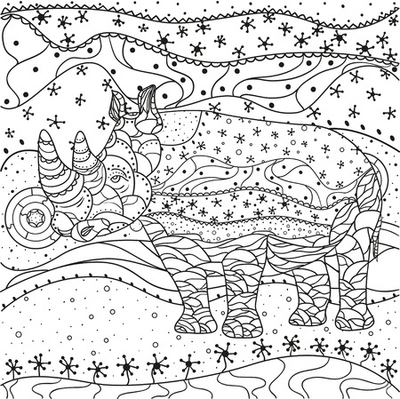 the sacral: Rhinoceros, abstract eastern pattern. Hand drawn texture with abstract patterns on isolation background design for spiritual relaxation for adults.