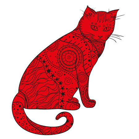 Cat design zentangle. Hand drawn cat with abstract patterns on isolation background design for spiritual relaxation for adults. Illustration
