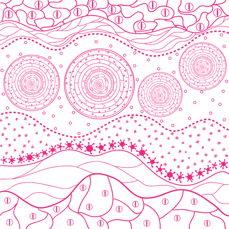 Pink patchwork pattern. Abstract eastern pattern. Hand drawn texture with abstract patterns on isolation background. Design for spiritual relaxation for adults. Line art creation. Print for polygraphy Иллюстрация