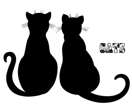 Cat. Silhouette. Hand drawn cats on isolation background. Design for spiritual relaxation for adults. Black and white illustration. Zen art.