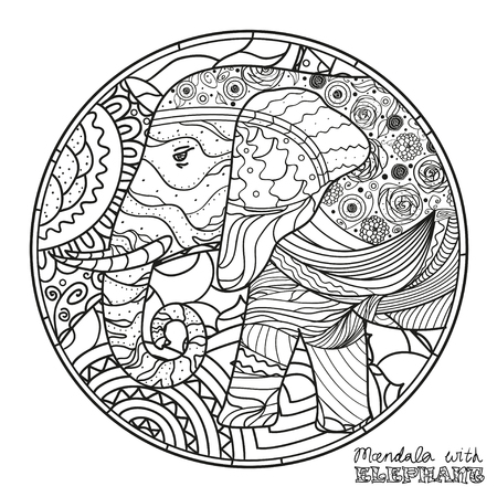 Elephant. Zen art. Detailed hand drawn mandala with abstract patterns on isolation background. Design for spiritual relaxation for adults. Black and white illustration for coloring.