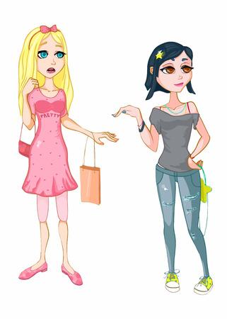 Blonde and brunette girls. Fashion girls. Shopping