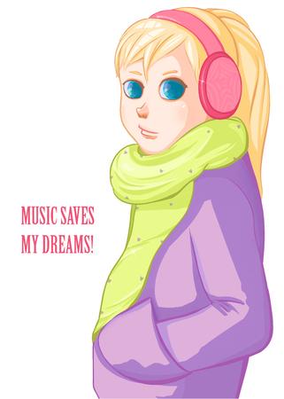 Blond girl in pink headphones. Music.