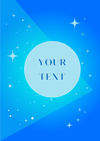 Blue doodle with geometric simbols and bright stars; geometric layout with your text