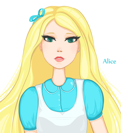 Pretty blonde girl with green eyes. Alice in Wonderland