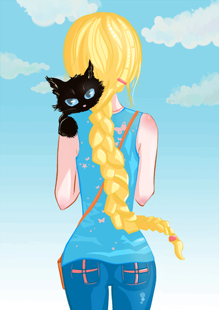 Blonde girl with a black cat