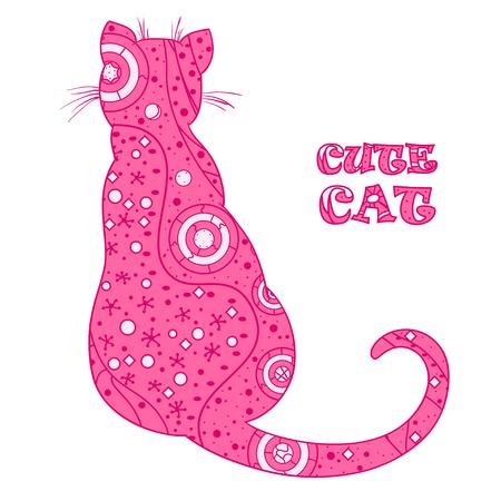 고양이. Zentangle 디자인. 격리 배경에 추상 패턴 손으로 그린 고양이. 성인을위한 영적 휴식을위한 디자인. 장식 스타일. 라인 아트 제작. 폴리 그래프,  일러스트