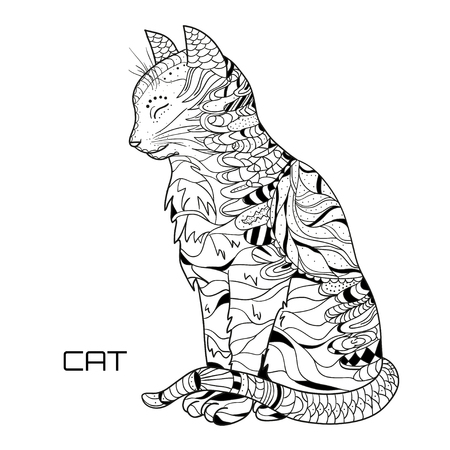 Cat. Zentangle. Hand drawn cat with abstract patterns on isolation background. Design for spiritual relaxation for adults.  Black and white illustration for coloring. Zen art. Outline for t-shirts