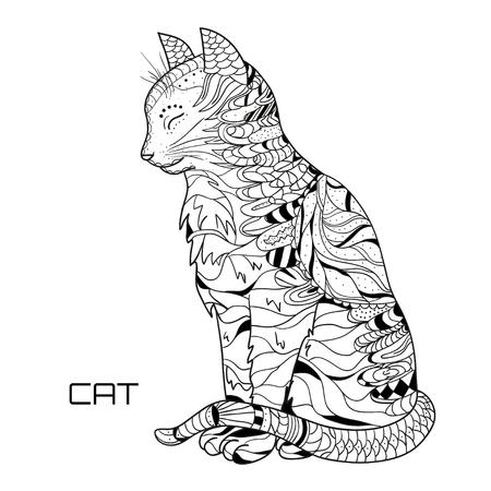 Katze. Zentangle Hand gezeichnete Katze mit abstrakten Mustern auf Isolation Hintergrund. Design für spirituelle Entspannung für Erwachsene. Schwarz-Weiß-Illustration zum Einfärben. Zen Art. Umriss für T-Shirts Standard-Bild - 84624025