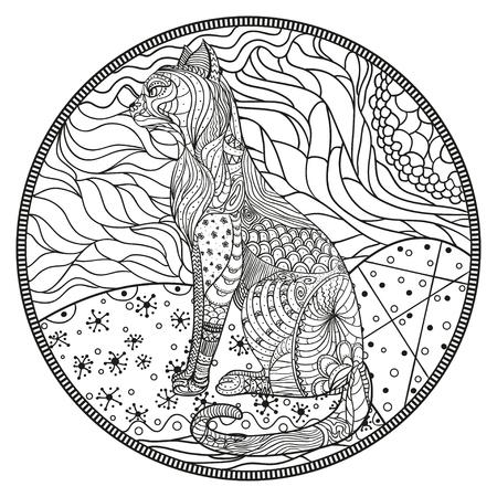 Mandala with cat. Zendala. Zentangle. Hand drawn circle mandala. Abstract patterns on isolation background. Design for spiritual relaxation for adults. Zen art. Line art creation. Eastern pattern Ilustracja